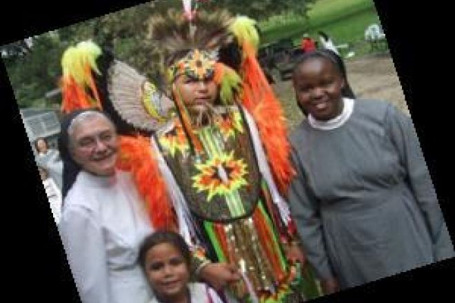 Sr  Frances Betz and Sr  Inviolata With Native Americans In Winnebago